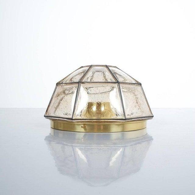Glashütte Limburg Glashütte Limburg Brass and Glass Flush Mount Ceiling Lamp, Germany, 1960 For Sale - Image 4 of 4