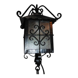 Spanish Revival Wrought Iron Black Metal Outdoor Porch Light Fixture For Sale
