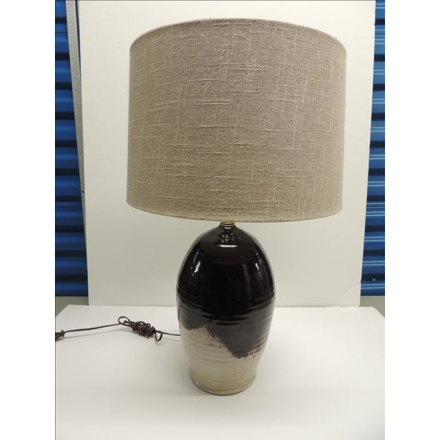 Vintage Art Pottery Lamp with Shade - Image 2 of 7