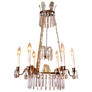 6-Light Neoclassical Style Brass and Crystal Chandelier, Sweden, circa 1890 For Sale