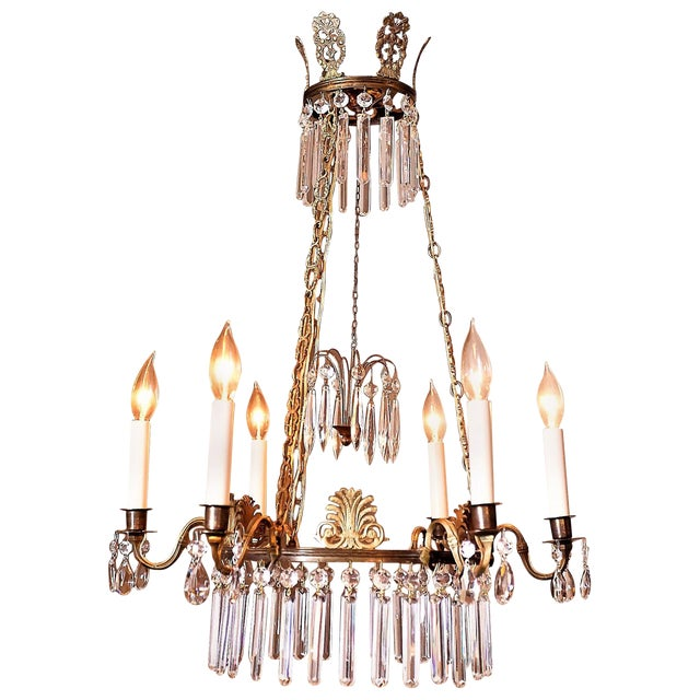 Neoclassical Style 6-Light Brass and Crystal Chandelier, Sweden, Circa 1890 For Sale