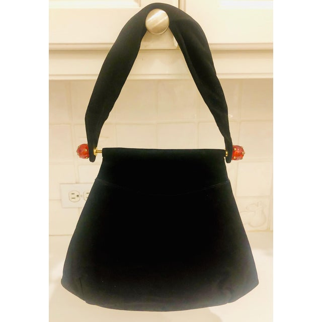 1930s Josef Suede Purse With Bakelite Ball Detail For Sale - Image 4 of 9