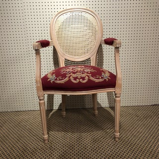 Vintage Louis XVI Cane Back Needlepoint Armchair Preview