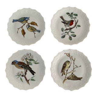 Limoges France Hand Painted Song Bird Dessert or Hors d'Oeuvre Plates - Set of 4 For Sale