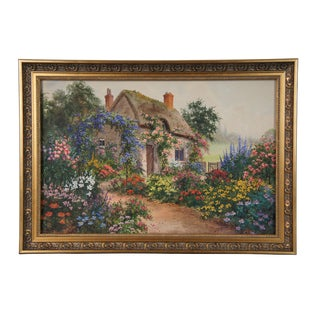 Late 19th Century Antique Joseph Halford Ross English Cottage Watercolor Painting For Sale