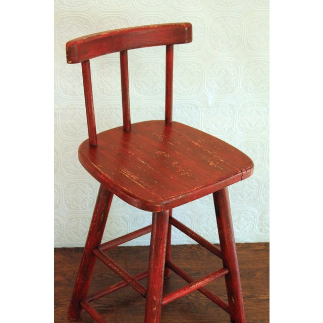 Rustic Red Stool - Image 3 of 3