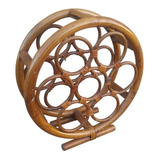 Mid-Century Bamboo Wine Rack For Sale