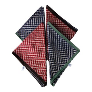 1940s Vintage Japanese Handwoven Silk Napkins - Set of 4 For Sale