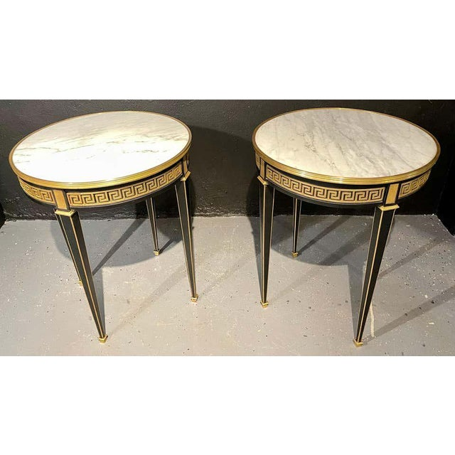 Hollywood Regency Jansen Style Bouliotte / End Tables Bronze Mounted - a Pair For Sale - Image 3 of 13