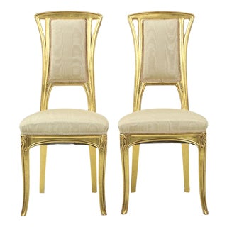 Art Nouveau Giltwood Side Chairs - A Pair For Sale
