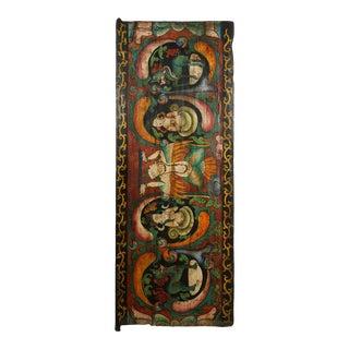 Antique Tibetan Painted Door Panel, Wall Hanging For Sale