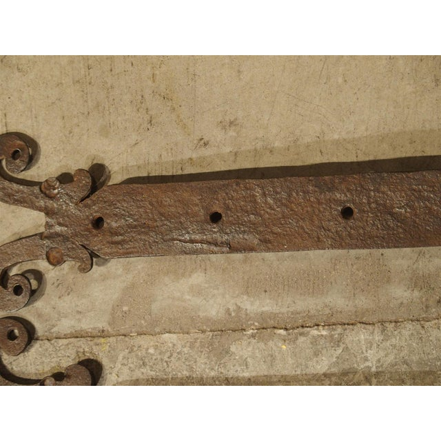 Metal Pair of 15th Century Iron Door Straps from France For Sale - Image 7 of 9