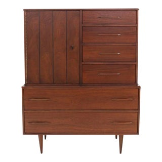 20th Century Danish Modern Walnut High Chest Gentlemen's Chest For Sale