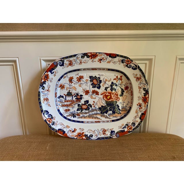 """Gorgeous large, 19th c. antique meat platter with grooves and basin in Minton's """"Amherst Japan"""" Imari style pattern, dated..."""