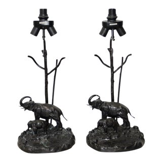Pair of Italo Valenti Silver Plate Patinated Bronze Elephant & Calf Table Lamps C.1950s For Sale