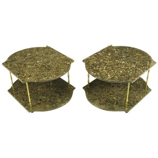 Pair of Italian Marble and Brass End Tables For Sale
