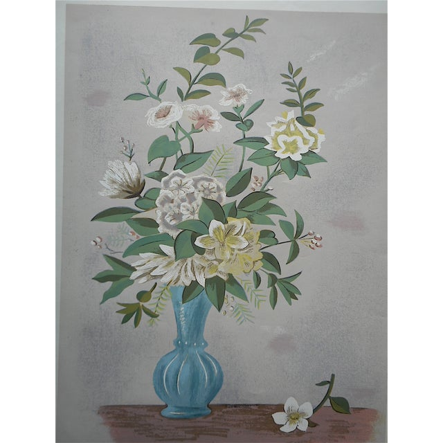 Vintage Silkscreen Blue Vase With Bouquet For Sale - Image 4 of 5