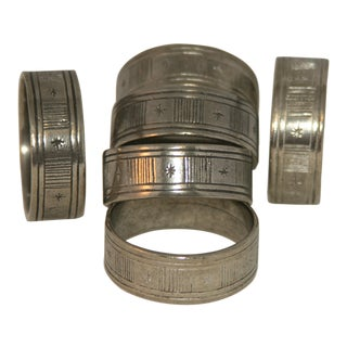 Artisan Hand Forged Norwegian Pewter Napkin Rings in Original Box - Set of 6 For Sale