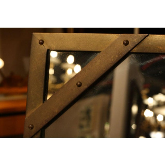Brass Sarreid Ltd. Studded Square Brass Frame Mirror For Sale - Image 7 of 7