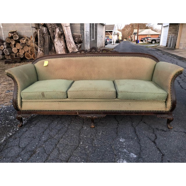 Antique Gothic Green Sofa and Armchair Set - 2 Pc. - Image 2 of 7