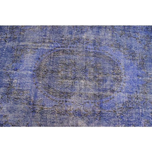 Dark Blue Turkish Over-Dyed Rug - 6′1″ × 10′4″ - Image 6 of 9