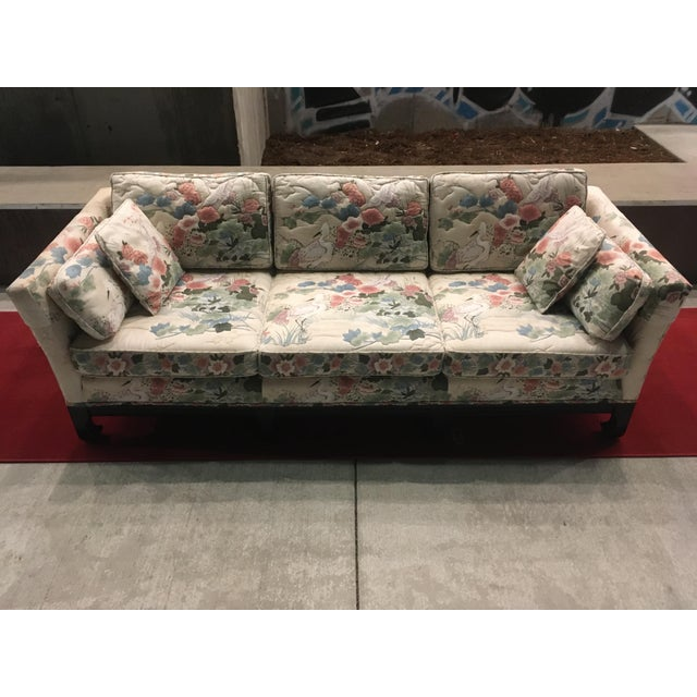 Feather Manner of Michael Taylor for Baker Tufted Chinoiserie Sofa With Ming Legs For Sale - Image 7 of 13