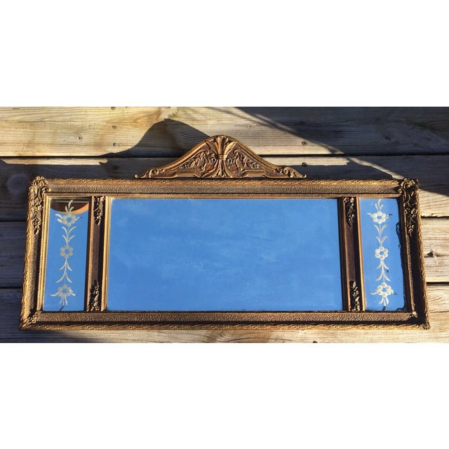 Antique Three-Pane Carved Wood Mantle Mirror - Image 2 of 11