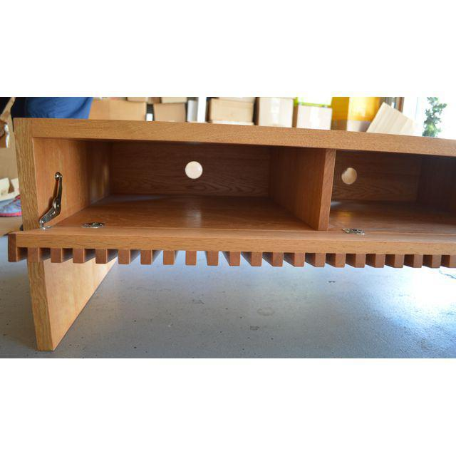 Mid Century Japanese Oak Solid Wood Coffee Table TV Media Cabinet Console  Sideboard For Sale
