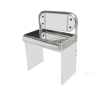 Lucite Chrome Retro Vanity with Mirror
