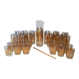 20th Century Hollywood Regency Gold Bamboo Design Cocktail Glass Set - 25 Pieces