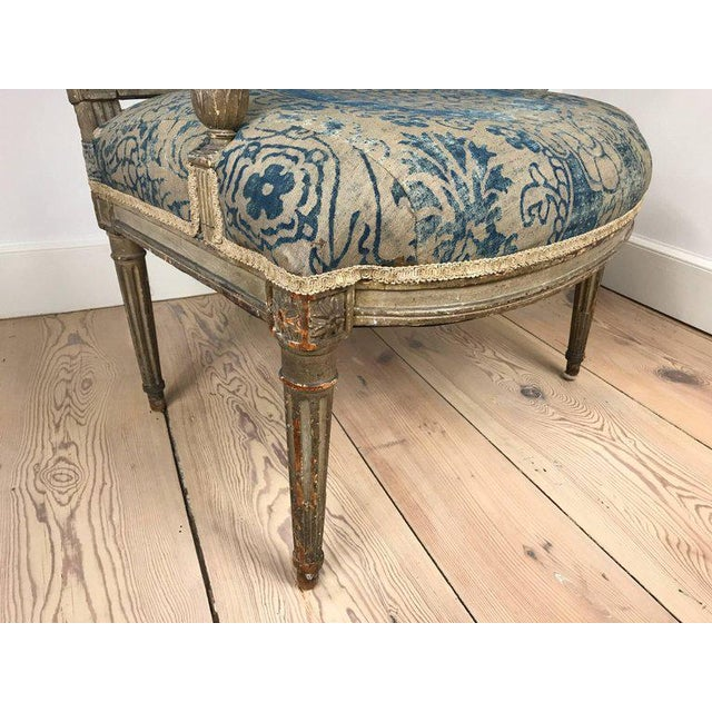 18th Century Louis XVI Bergere Chair With Fortuny Upholstery - Image 7 of 8