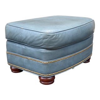 Hancock & Moore Leather Nailhead Ottoman For Sale