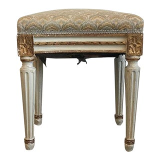 Louis XVI Style Paint and Gilt Upholstered Stool For Sale