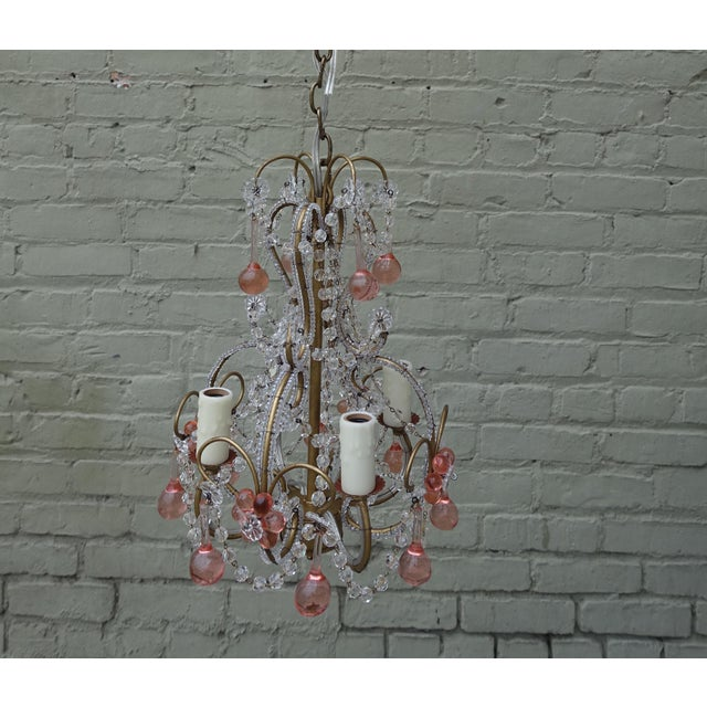 Petite Pink Drop Crystal Chandelier - Image 3 of 6