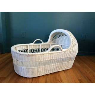 1960s Cottage White Wicker Bassinet With Stand - 2 Piece Set Preview