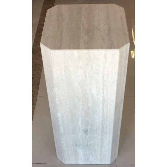 """Travertine marble display pedestal with chamfered corners. Made from 7/8"""" thick travertine. The exterior is polished and..."""