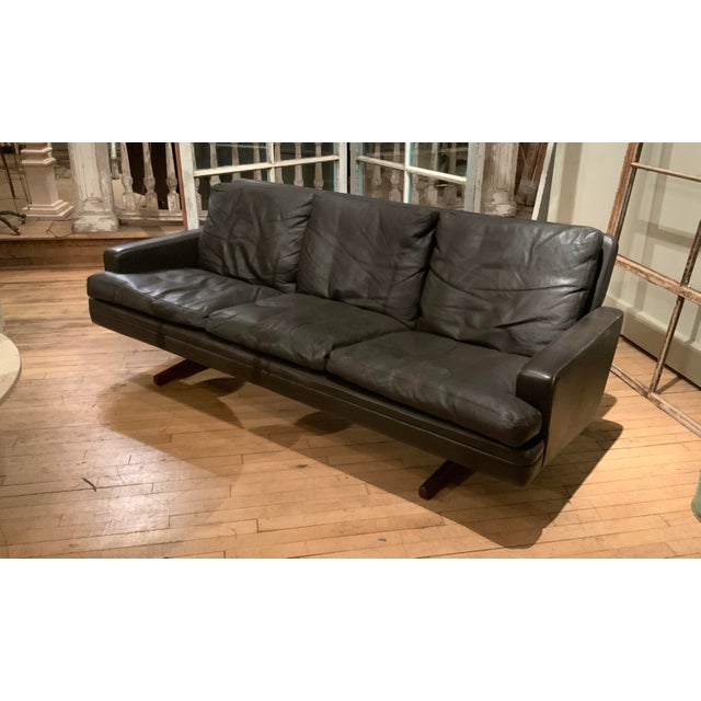 1960s Danish Leather and Rosewood Sofa by Fredrik Kayser For Sale - Image 10 of 10
