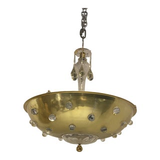 1960's Austrian Brass and Glass Light Fixture For Sale