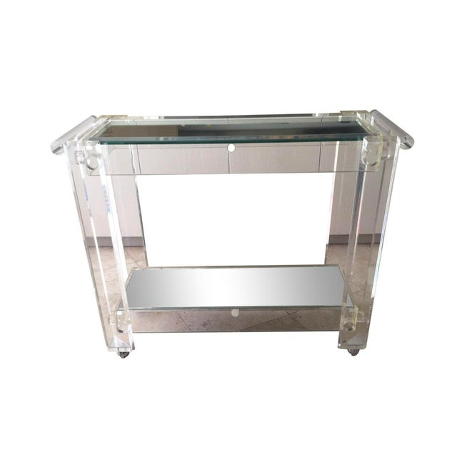 1970s Mid-Century Modern Mirrored Bar Cart Trolley For Sale - Image 13 of 13