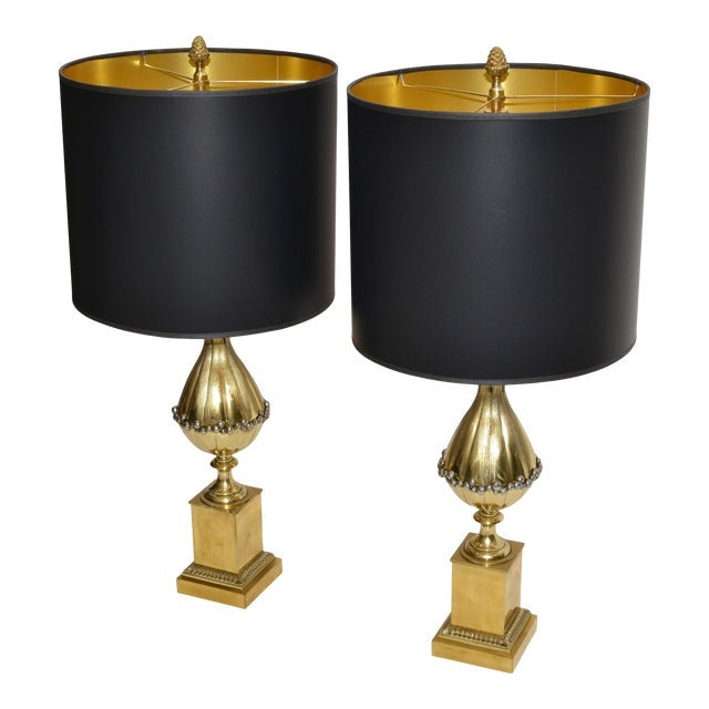 Maison Charles French Art Deco Lotus Bronze Table Lamp Black & Gold Shade - Pair For Sale