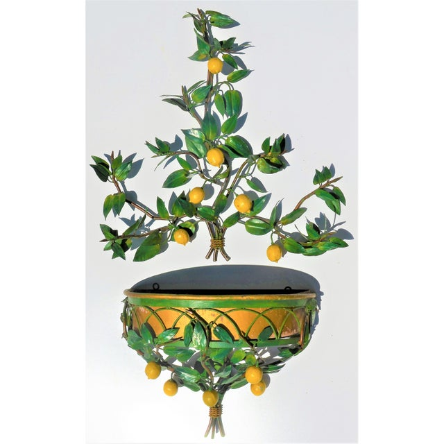 1960s Vintage Italian Tole Lemon Tree Wall Sconce With Planter For Sale - Image 5 of 10