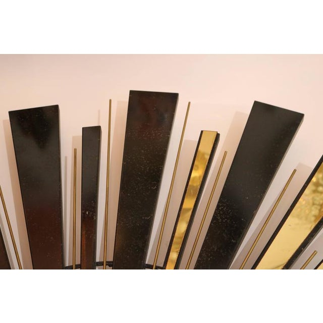 Mid-Century Modern 1974 Curtis Jere Sunburst Wall Sculpture in Brass and Black For Sale In West Palm - Image 6 of 7