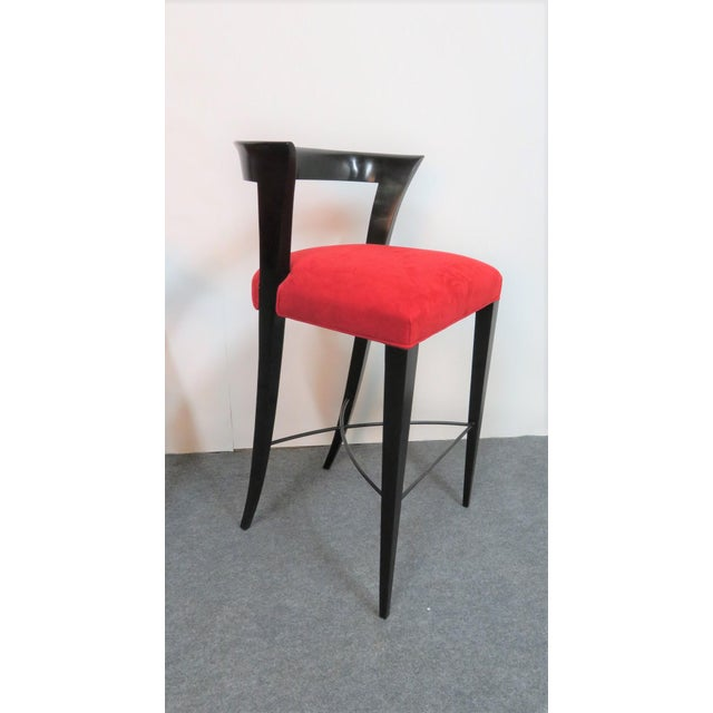 Quality Custom ( Being sold in sets of 3 ) made Italian modern design bar stools. Bentwood with Black lacquered finish....
