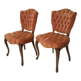 1950s Vintage Hollywood Regency Queen Anne Style Chairs - A Pair For Sale