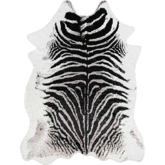 "Plastic Erin Gates by Momeni Acadia Zebra Black Faux Hide Area Rug - 5'3"" X 7'10"" For Sale - Image 7 of 7"