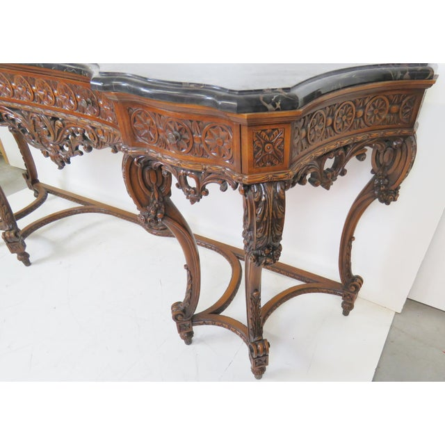 Marbletop Carved Mahogany Console - Image 6 of 8