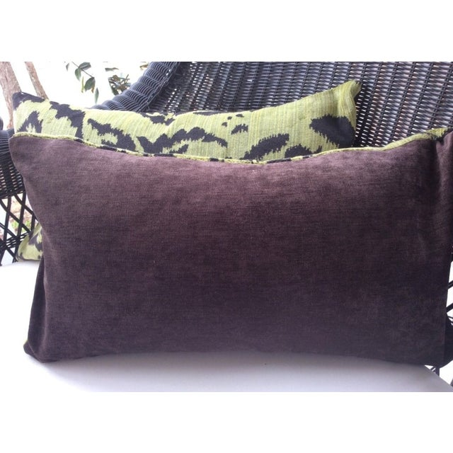 """Contemporary Moss Scalamandre """"Le Tigre"""" Down Pillows - a Pair For Sale - Image 3 of 3"""