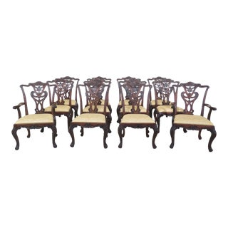 Henredon Georgian Style Mahogany Dining Room Chairs - Set of 12 For Sale