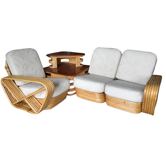 Exceptional Restored Six-Strand Square Pretzel Sectional Rattan ...