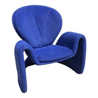 1980s Vintage Post Modern Curvy Accent Chair For Sale